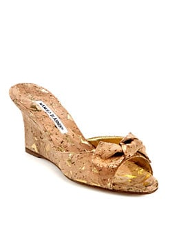 Manolo Blahnik - Liss Cork Bow Wedge Sandals