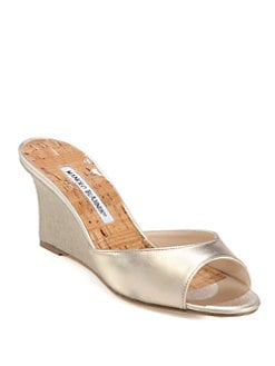 Manolo Blahnik - Falsonol Metallic Leather Wedge Sandals