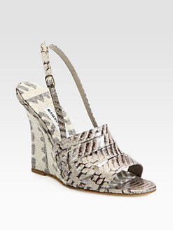 Manolo Blahnik - Snakeskin Slingback Wedge Sandals