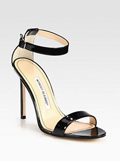 Manolo Blahnik - Chaos Patent Leather Ankle Strap Sandals