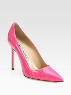 Manolo Blahnik - BB Denim-Print Patent Leather Pumps
