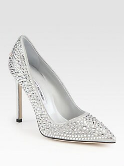 Manolo Blahnik - Crystal BB Satin Pumps