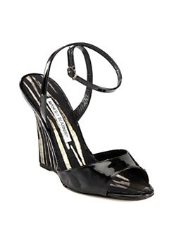 Manolo Blahnik - Pillino Patent Leather & Striped Wedge Sandals