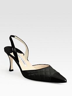 Manolo Blahnik - Irie Quilted Leather & Patent Slingback Pumps