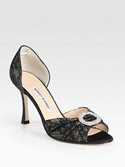 Manolo Blahnik - Lace & Satin Crystal-Embellished d'Orsay Pumps