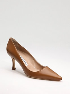 Manolo Blahnik - Newcio Point-Toe Leather Pumps