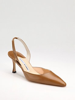 Manolo Blahnik - Carolyne Leather Point-Toe Slingback Pumps