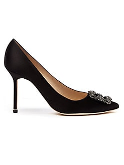 Manolo Blahnik - Hangisi Jewel Satin Pumps