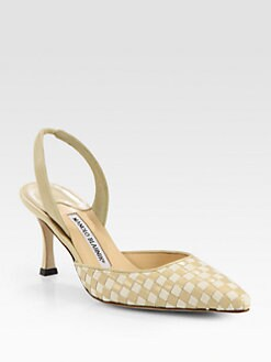 Manolo Blahnik - Carolyne Woven Leather & Twill Slingback Pumps