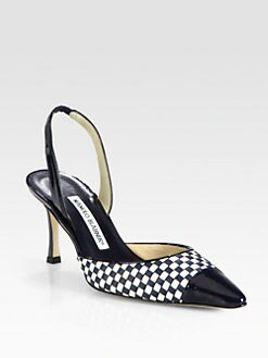Manolo Blahnik - Carolyne Woven Leather Slingback Pumps