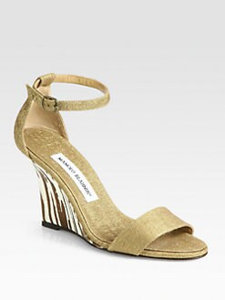 Manolo Blahnik - Woven Metallic Zebra-Print Wedge Sandals