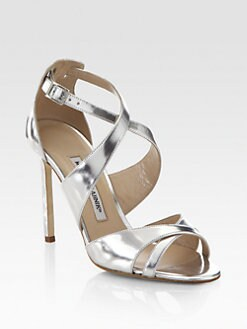 Manolo Blahnik - Ginkobalo Crisscross Metallic Leather Sandals
