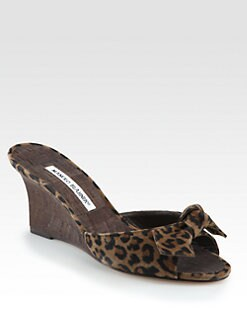 Manolo Blahnik - Liss Dot Leopard-Print Suede Wedge Sandals