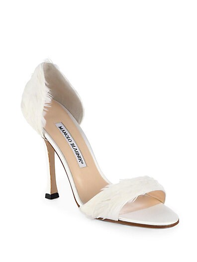 Catalina d'Orsay Satin  Feather Pumps