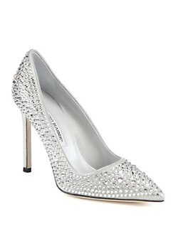Manolo Blahnik - BB Jet Crystal-Coated Satin Pumps