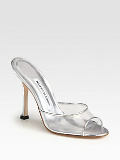 Manolo Blahnik - Astuta Translucent Metallic Leather Mules
