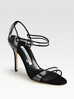 Manolo Blahnik - Fersen Translucent Suede-Trimmed Sandals