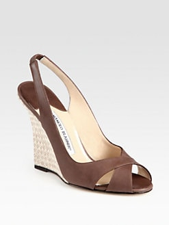 Manolo Blahnik - Shala Leather Woven Wedge Sandals