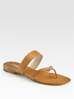 Manolo Blahnik - Layne Leather Thong Sandals