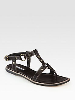 Manolo Blahnik - Grava Leather Gladiator Sandals