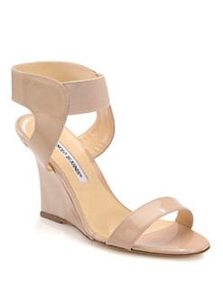 Manolo Blahnik - Pepewe Patent Leather Wedge Sandals