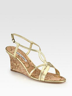 Manolo Blahnik - Martinawed Metallic Leather Cork Wedge Sandals