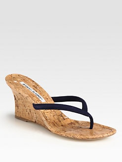 Manolo Blahnik - Patwedfac Suede Cork Wedge Sandals