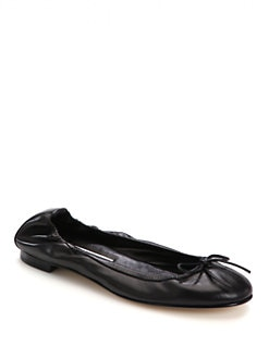 Manolo Blahnik - Tobally Leather Ballet Flats