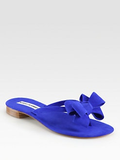 Manolo Blahnik - Patribow Suede Thong Sandals