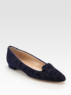 Manolo Blahnik - Sharif Velvet Brocade Smoking Sippers