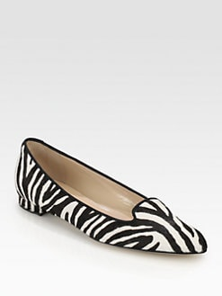 Manolo Blahnik - Sharif Zebra-Print Calf Hair Smoking Slippers