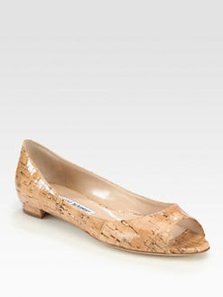 Manolo Blahnik - Anessa Shiny Cork Flats