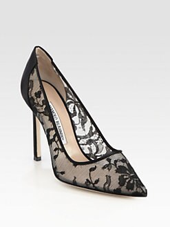 Manolo Blahnik - BB Lace & Satin Pumps