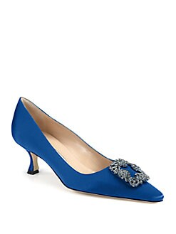 Manolo Blahnik - Hangisi Jeweled Satin Pumps