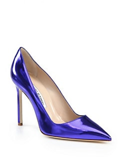 Manolo Blahnik - BB Metallic Leather Pumps