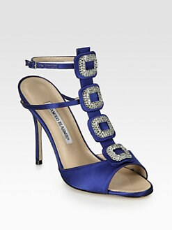 Manolo Blahnik - Suw Jeweled Satin Sandals