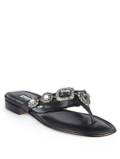Manolo Blahnik - Cesabi Jeweled Leather Thong Sandals
