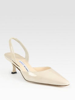 Manolo Blahnik - Carolyne Patent Leather Point Toe Slingback Pumps