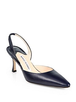 Manolo Blahnik - Carolyne Leather Slingback Pumps