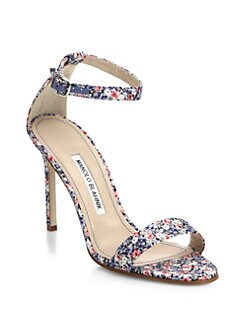 8a60a5f15bdce Manolo Blahnik - Chaos Liberty Print Ankle-Strap Sandals - WomenSak70