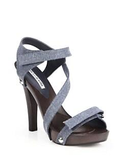 Manolo Blahnik Wooden-Heeled Denim Sandals