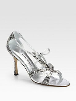 Manolo Blahnik - Venusa Metallic Snakeskin Sandals