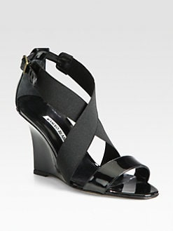 Manolo Blahnik - Sarli Patent Leather Wedge Sandals