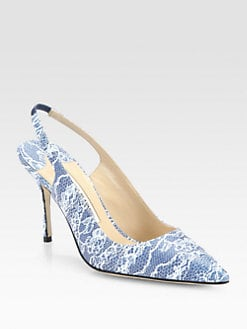 Manolo Blahnik - Snake-Print Patent Leather Slingback Pumps