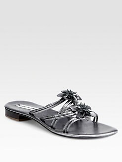Manolo Blahnik - Metallic Leather Flower Appliqué Sandals