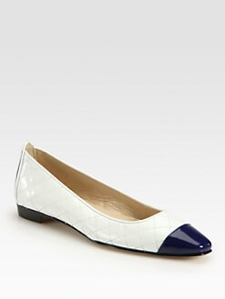 Manolo Blahnik - Quilted Leather and Patent Leather Ballet Flats