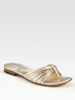 Manolo Blahnik - Metallic Leather Thong Sandals