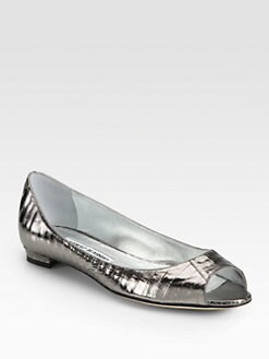 Manolo Blahnik - Metallic Snakeskin Peep Toe Ballet Flats