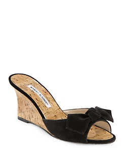 Manolo Blahnik - Suede and Cork Wedge Slide Bow Sandals