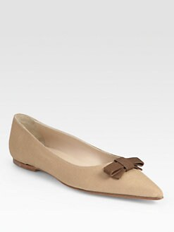 Manolo Blahnik - Linen Point Toe Bow Ballet Flats